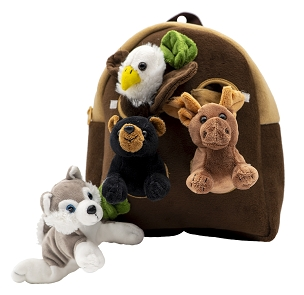 Alaska Backpack with 4 Plush Animals