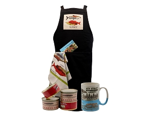 Icy Strait Point Apron Collection with Alaska Sockeye