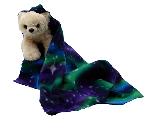 Northern Lights Security Blanket with Huggable Bear